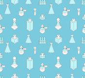Seamless pattern with apothecary and medical beakers, laboratory Royalty Free Stock Photography