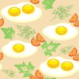 Seamless pattern. Appetizing scrambled eggs with tomatoes, dill and parsley. Delicious and fast food. Suitable as wallpaper in the royalty free illustration