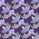 Seamless pattern with apple blossom. Round kaleidoscope of flowers and floral elements Stock Photos