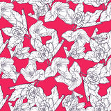 Seamless pattern with apple blossom. Round kaleidoscope of flowers and floral elements. Wreath. Design card Stock Photo