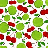 Seamless pattern of apple and cherrys . Royalty Free Stock Photo