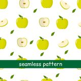 Seamless pattern of apple green and leaf on a white background. Seamless pattern of of apple green and leaf on a white background. Vector illustration, a flat vector illustration
