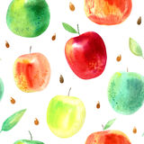 Seamless pattern with apple,leaves and seeds.Food picture. Royalty Free Stock Image