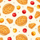 Seamless pattern with apple pies and apples. Vector illustration. Royalty Free Stock Images
