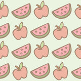Seamless pattern of apple and watermelon cartoon Royalty Free Stock Image