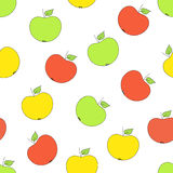 Seamless pattern with apples with apples on a white background. Vector seamless pattern with green, red, yellow apples on a white background Stock Illustration