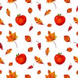 Beautiful warm seamless pattern with red apples, autumn leaves and berries stock illustration