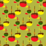 Seamless pattern with apples in the glaze Stock Photography