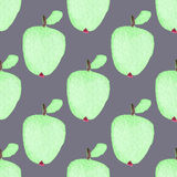 Seamless pattern with apples. Hand-drawn background. Vector illustration. Royalty Free Stock Photography