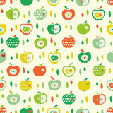 Seamless pattern with apples and leaves Stock Images