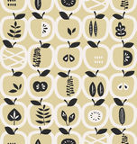 Seamless pattern with apples and leaves Royalty Free Stock Photography