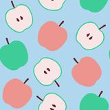 Seamless pattern with apples on mint background stock illustration