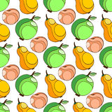Seamless pattern with apples, peach and pears. Perfect for wallpapers, pattern fills, web page backgrounds, surface textures, text Stock Photo