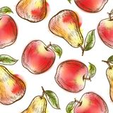 Seamless pattern with apples and pears Stock Photo