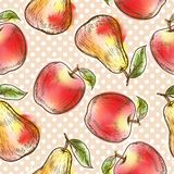 Seamless pattern with apples and pears Stock Photos