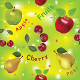 Seamless pattern with apples, pears and cherry Stock Photography