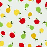 Seamless pattern apples and pears in flat style isolated on the white background. Vector Stock Image