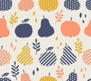 Seamless pattern with apples, pears and leaves. Vector illustration vector illustration
