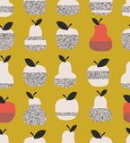 Seamless pattern with apples, pears and leaves Stock Images