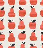 Seamless pattern with apples, pears and leaves Royalty Free Stock Photo