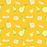 A seamless pattern with apples and pears. Stock Images