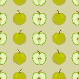 Seamless pattern of apples. Pixel Embroidery. Vector royalty free illustration