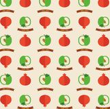 Seamless pattern with apples and pomegranates.  Greeting card for Rosh hashana holiday. Stock Image