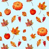 Nice warm seamless pattern with pumpkins, apples, autumn leaves and berries royalty free illustration