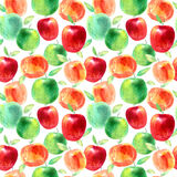 Seamless pattern with apples and seeds.Food picture. Watercolor hand drawn illustration.Blue background Stock Photography