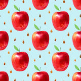 Seamless pattern with apples and seeds.Food picture. Watercolor hand drawn illustration.Blue background Stock Images