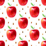 Seamless pattern with apples and seeds.Food picture. Watercolor hand drawn illustration.White background Stock Photo