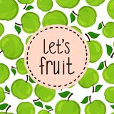 Seamless pattern of apples, vector illustration. Stock Photos