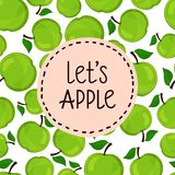 Seamless pattern of apples, vector illustration. Royalty Free Stock Image