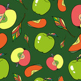 Seamless pattern apples. Vector illustration Seamless pattern which shows apples and leaves Stock Photography