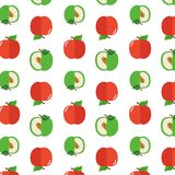 Seamless pattern with apples on the white background. Stock Photos