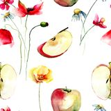 Seamless pattern with apples and wild flowers. Watercolour illustration Royalty Free Stock Photos