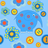 Seamless pattern with applique fabric Stock Photo