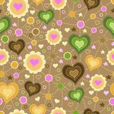 Seamless pattern with applique of hearts Stock Photography