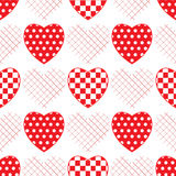 Seamless pattern with applique hearts. Royalty Free Stock Photography