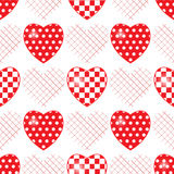 Seamless pattern with applique hearts. Stock Photo