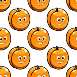 Seamless pattern apricot with happy smiling faces Royalty Free Stock Photos