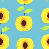 Seamless pattern with an apricot and a leaf. Bright art with tasty fruit vector illustration