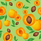 Seamless pattern with apricots and green leaves on olive background vector illustration
