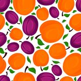 Seamless pattern of apricots, vector illustration. Stock Images