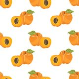 Seamless pattern with apricots Royalty Free Stock Photos