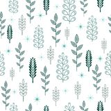 Seamless pattern with aquamarine and white abstract winter trees and light blue stars vector illustration