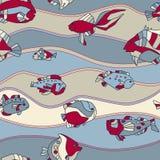 Seamless pattern aquarium fish wave Stock Images