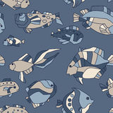 Seamless pattern aquarium fish wave Stock Photography