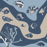 Seamless pattern aquarium fish wave Royalty Free Stock Photos