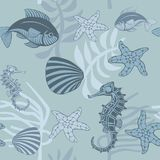 Seamless pattern with aquatic animals and plants. Seamless pattern with fish, horsefish, shell, starfish and seaweeds Stock Photography